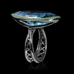 Mousson Atelier, collection New Classic - Moulin Rouge, Black gold 750, London topaz 21,7 ct., Tsavorites