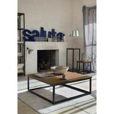 FACTO Table basse carrée chêne/métal 85x85cm - Achat / Vente table basse FACTO…