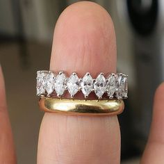 Antique and modern, yellow and white, we love to mix it up! Marquise diamond eternity ring and antique yellow gold band. Buy Diamond Ring, Marquise Diamond, Diamond Bands, Gold Bands, Diamond Jewelry, Emerald Eternity Band, Full Eternity Ring, Eternity Bands, Vintage Eternity Ring