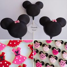 Minnie Mouse Birthday Sweets: Thinking the Minnie Heads are Double Stuffed Oreo's with Dark Choc discs for ears then dipped in Black melting Choc :)