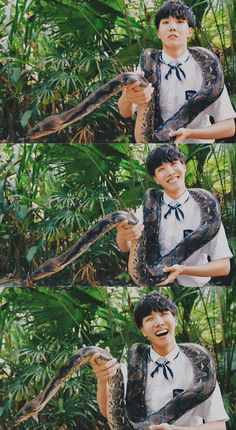 He looks so happy, but in reality he was so terrified of that snake.