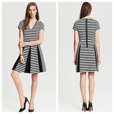 ♥️Banana Republic fit&aflame dress♥️ Black white stripe adorable fit & flare dress by Banana Republic so beautiful on in excellent condition ♥️ Banana Republic Dresses