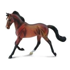 CollectA's Thoroughbred Mare - Bay is so realistic you can almost hear the hoofbeats as she trots easily into your collection. Best known for horse racing, the Thoroughbred is also used for show jumping, dressage, fox hunting and polo. Famous Thoroughbreds include Man o' War and Triple Crown Champion Secretariat.  CollectA horses are created by Deborah McDermott, a sculptor living in Southern California.  She grew up as a typical horse-crazy little girl wholoved horse models and drawing…