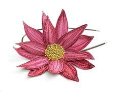 Lotus Flower Headband Cerise Pink with Dark Red by TheFaerieMarket