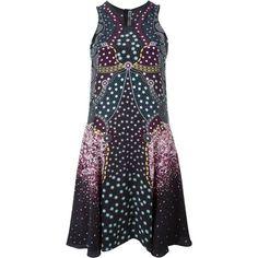 Mary Katrantzou 'Cosmo' printed dress (69.335 RUB) ❤ liked on Polyvore featuring dresses, black, sleeveless dress, short silk dress, short flared dresses, sleeveless flare dress and flare dress