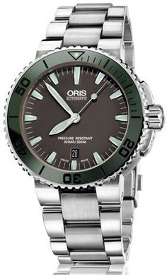 Oris Watch Aquis Date Dark Green Bracelet #bezel-unidirectional…