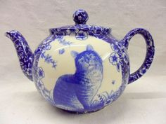 blue victorian cat design 6 cup teapot by Heron Cross Pottery