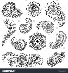 Set of Mehndi flower pattern for Henna drawing and tattoo. Decoration in ethnic … Set of Mehndi flower pattern for Henna drawing and tattoo. Decoration in ethnic oriental, Indian style. Henna Designs Drawing, Mehndi Designs Book, Henna Drawings, Jewelry Design Drawing, Henna Designs Easy, Henna Flower Designs, Mehndi Flower, Mehndi Art, Henna Art