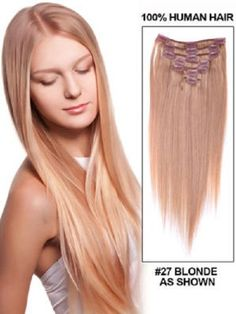 """Hair Show 22"""" Strawberry Blonde 7 Pieces Remy Clip in Human Hair Extensions 70 Grams. Strawberry Blonde tinted color, color on screen may differ slightly, please allow it. 100% Remy human hair, 100% hand made in the USA, cuticle aligned. 22"""" long, easy to apply and remove, fast and temporary, smooth, comfortable. 7 pieces. Real hair, Customer is responsible for knowing how to attach hair they purchase. Can be dyed darker, washed, curled, conditioned. Can last super long with proper…"""