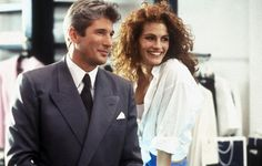 Pretty Woman  Ruthless businessman Edward Lewis (Richard Gere) hires goofy hooker Vivian Ward (Julia Roberts) while on a business trip to LA. He pays the socially unsophisticated yet street smart Vivian to escort him to society parties and polo matches...and finds himself falling in love with her. This loosely Pygmalion-style fable was the launch pad for Julia Roberts' meteoric career.