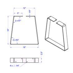 "Dimensions - Height: 6""-20"" - Width (at bottom): 12""-24"" - Depth: 2.5"" - Steel thickness: 1/4"", 3/8"" Hardware - Hex lag screws: 4, 8 - Screw diameter: 1/4"" - Sc"