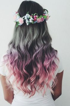 The Purple hair Color is the best and unique . In this Hair Color there is the best purple hair color with the Flowers Style.
