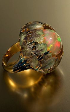 Flower Stone Opal Anel Exaggerated Personality Fabulous Gold Anillos R – Mumstay Bijoux Art Nouveau, Art Nouveau Jewelry, Jewelry Art, Jewelry Accessories, Fine Jewelry, Jewelry Design, Jewelry Ideas, Jewellery Sale, Gold Jewellery