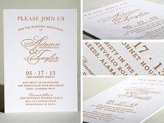 Letterpress Wedding rehearsal dinner invitations done by crinkpress.com