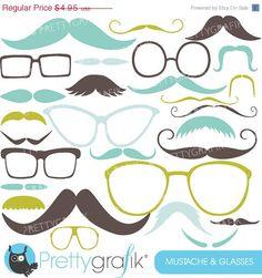 80% OFF SALE Moustache Prop, Mustache clipart commercial use, vector graphics, digital clip art, digital images - CL560