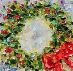"Karen's Fine Art – Gallery Represented Modern Impressionism in oils Fine Art Print by Karen Tarlton  Title: Holiday Wreath print  Size: 10""x 10"" or"