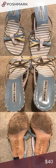 Manolo Blahnik sandals with kitten heel Size 36.5 Re-Poshing from another user. Purchased a month ago but a little too small for me. Manolo Blahnik Shoes Sandals