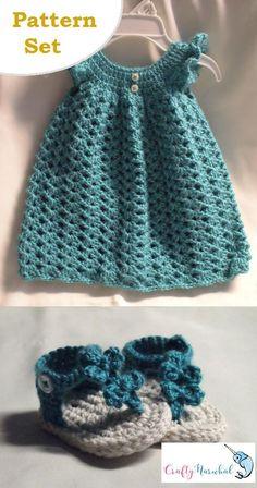 Crochet Baby Dress and Bow Sandal Pattern Set