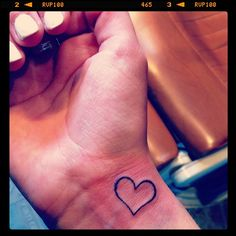 tattoo heart wrist outline black