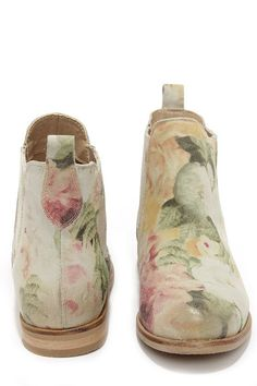 Coolway Felicia Natural Suede Leather Floral Print Ankle Boots at ...