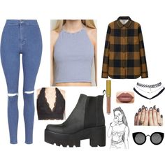 Grunge 1 by maciejbolton on Polyvore featuring polyvore, fashion, style, Sachi, Uniqlo, Topshop, Wet Seal and Quay