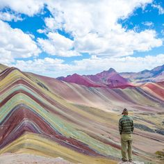 """Tag your travel partner!⛰ Location: @bamorris5 in awe of the Rainbow Mountains of Vinicunca, Peru. Tour Operator: @flashpackerconnect Photo Credit:…"""