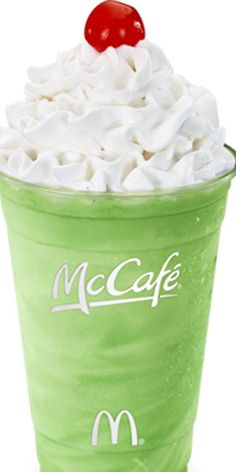 "The Shamrock Shake - 540 calories of minty-flavoured ""goodness"" topped with whipped cream and a juicy red cherry."