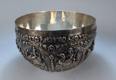 Very Large Antique Burmese Silver Bowl, 19th Century