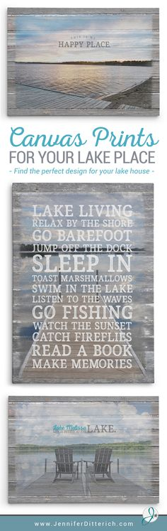 Check out this collection of lake-inspired prints that are perfect for your lakehouse decor. Pick your favorite one or have one customized for you with your favorite lake picture!