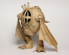 Japanese Cardboard Artist Transforms Old Boxes Into Tanks, Food And More! Cardboard Sculpture, Cardboard Crafts, Iq Puzzle, Used Cardboard Boxes, Animation 3d, Old Boxes, Japanese Artists, Box Art, Paper Art