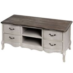 Shabby chic antiqued french grey TV stand media unit