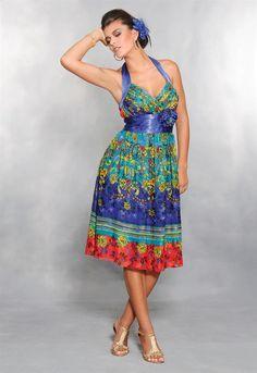 Vestido curto romântico em musseline com estampa floral. Cod. 7029