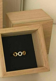 3 circle red gold ring with brilliants from Helgstrand Denmark