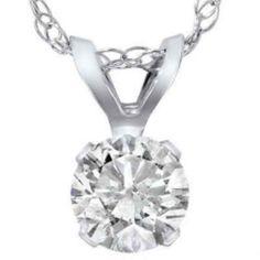 .35 Ct Solitaire Diamond Pendant + 14K White Gold w/ Free Shipping