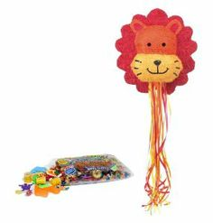 "Lion Pull String Pinata Kit - Includes Pinata and 2Lb Filler by Pinatas.com. $32.54. Pinata filler includes approximately 2 pounds of candy and toys, including Laffy Taffy, Smarties, Tootsie Rolls and other brand candy. Caution: not recommended for children under 3 years of age.. Pinata measures approximately 18 quot; high x 16 quot; wide. This brightly colored pinata is in the shape of a lion head with a red mane with an orange and yellow face. Measures approximately 18""... Tootsie Rolls, Pinata Fillers, Laffy Taffy, Candy Brands, Orange, Yellow, Party Games, 3 Years, Bright Colors"