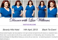 Don't Miss Your Chance To Give Back and Have Dinner With Lisa!!   April 14th 2013 - Black Tie Event At The Beverly Hilton Hotel    #lisawilliams #spiritual #psychic