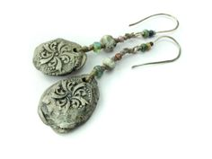 RESERVED  FOR MARIA Artisan ceramic hemp and sterling silver earrings