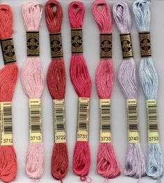 DMC 3712, 3713, 3722, 3731, 3733, 3743, 3753 six stranded embroidery floss at Raspberry Lane Crafts Embroidery Designs, Embroidery Stitches Tutorial, Dmc Embroidery Floss, Learn Embroidery, Silk Ribbon Embroidery, Embroidery Techniques, Embroidery Supplies, Embroidery Kits, Embroidery Digitizing