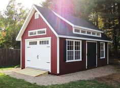 This Kloter Farms 14x24 Garden Elite Cape Garage is a perfect addition to any yard! Let us help you design yours today! Wooden Storage Sheds, Backyard Storage Sheds, Storage Shed Plans, Backyard Sheds, Backyard Pergola, Pergola Ideas, Wooden Garages, Patio Ideas, Yard Ideas