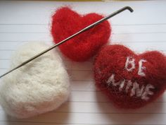 a perfect easy felting project for valentines day, or modified for an inaugural craft!   materials: wool roving, felting needle, silicone he...