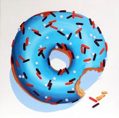 """Blue Doughnut with Orange and Chocolate Sprinkles"" 24""x24"" - Oil Painting - by Terry Romero Paul. www.trpart.com"