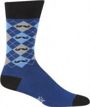 Blue and gray argyle socks with black mustaches by Sock It To Me for men.