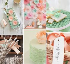 peach and mint bridal shower ideas