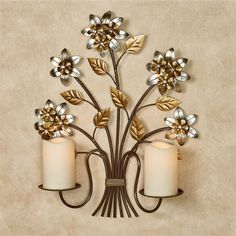 Metallic finishes lend a sparkling grace to the Bellissa Floral Wall Candelabra. The dark brown metal wall sconce resembles a grouping of branches. Gold Walls, Metal Walls, Metal Wall Art, Aluminum Crafts, Gold Wall Decor, Copper Art, Home Goods Decor, Candle Stand, Candle Wall Sconces
