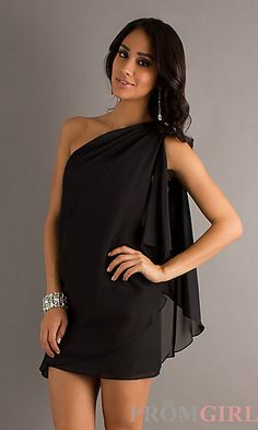 Short One Shoulder Dress by Sally Fashion at PromGirl.com