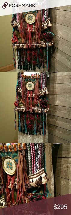 Handmade boho, vintage, festival, cross body bag Handmade using vintage tapestry, fringe, vintage jewelry, beads, bells, tassels, weaving and more! One of a kind and STUNNING! Artisan made Wear cross body or shoulder style Handmade Bags Crossbody Bags