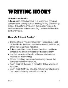 Teaching Writing Hooks Anchor Chart