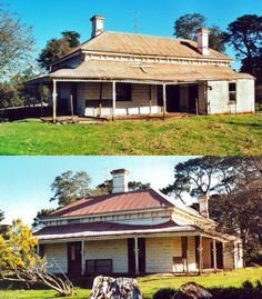 "Cluanie Homestead, Leongatha South, was constructed in c.1894, and is believed to be one of the oldest homesteads in the Shire. It is one of a relatively small number of rural buildings that demonstrate the phase of settlement that occurred prior to the disastrous bushfires of 1898. ""Cluanie"" is sited on a hilltop at the end of a long driveway. It is a single storey weatherboard double fronted late Victorian villa. Unusually, it has the main entry to the side (north) with only French doors… Australian Houses, Australian Bush, Australian Architecture, Abandoned Farm Houses, Old Houses, Melbourne Victoria, Victoria Australia, Country Estate, Country Life"