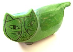 Ceramic cat bank by Baldelli Studios, Italy.  These were given as premiums for opening bank accounts.  Design has been attributed to Lisa Larsson.