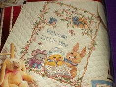 """Dimensions Stamped Cross Stitch Kit Welcome Little One Baby Quilt 34"""" x 43"""" New #Dimensions #BabyQuilt"""